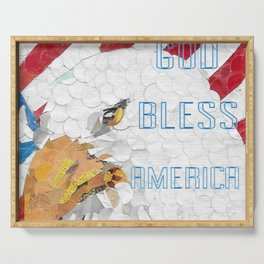 """"""" God Bless America Eagle """" Serving Tray"""
