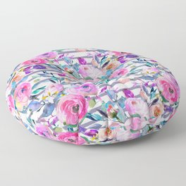 Pink mauve lilac hand painted watercolor roses floral stripes Floor Pillow