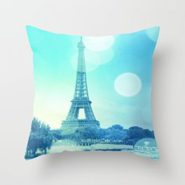 Paris Bokeh Aqua Throw Pillow