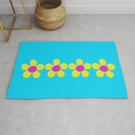 Spring Daisies Jelly Art - Yellow Pink Turquoise Rug