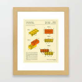 BUILDING BRICKS Patent (1961) Reproduction Framed Art Print
