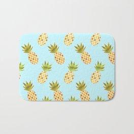 Blue Tropical Pineapple Pattern Bath Mat