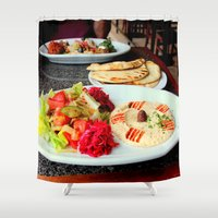 west coast Shower Curtains featuring West Coast Middle Eastern by oneofacard
