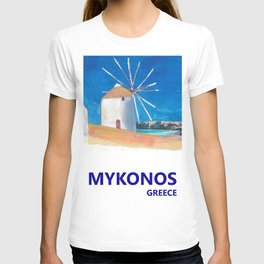 Mykonos Greece Windmill, Sea and Little Venice Travel Retro Poster T-shirt