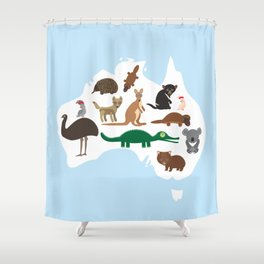 map of Australia. Echidna Platypus Emu Tasmanian devil Cockatoo Wombat crocodile kangaroo dingo Shower Curtain
