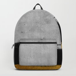 Black and Gold grunge stripes on modern grey concrete abstract backround I - Stripe - Striped Backpack