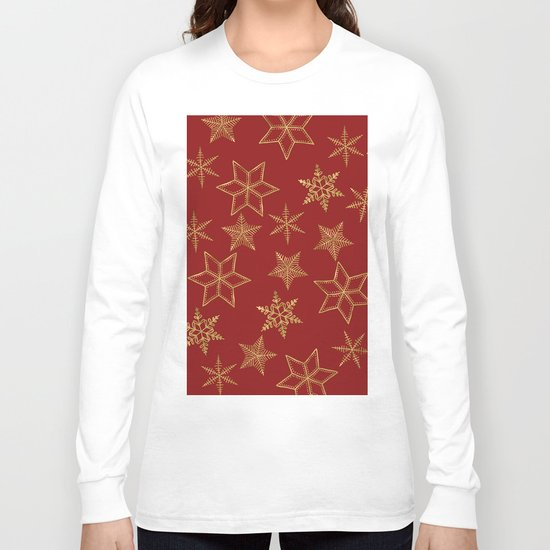 Snowflakes Red And Gold Long Sleeve T-shirt