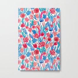 Vivid & Colorful Watercolor Floral Pattern Metal Print