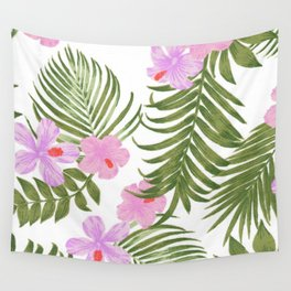 Modern pink green palm tree tropical floral Wall Tapestry