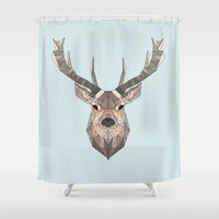 stag Shower Curtains featuring Stag by LydiaSchüttengruber