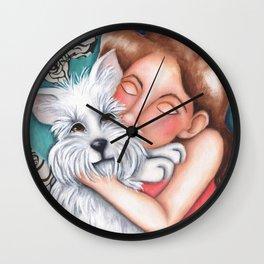 Sweet Coconut Original Art Schnauzer and girl Portrait Wall Clock