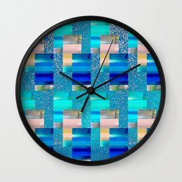 Geometric Glitter Rectangle Dimension in Cool Hues Wall Clock