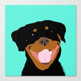 Rottweiler graphic on Mint Canvas Print