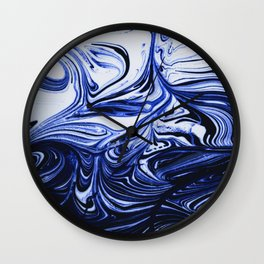 Oil Swirl Blue Droplets Abstract I Wall Clock