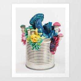 Bright Growth - Mushrooms on a Tin Can Art Print