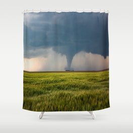 Behind the Scene - Large Tornado Passes Safely Behind a Farmhouse in Kansas Shower Curtain