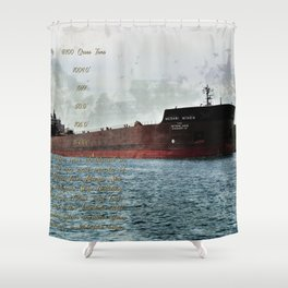 Mesabi Miner freighter and Stats Shower Curtain