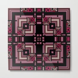 Abstract Pink Black Square Multi Pattern design Metal Print