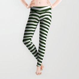 Dark Forest Green and White Chevron Zigzag Stripes Leggings