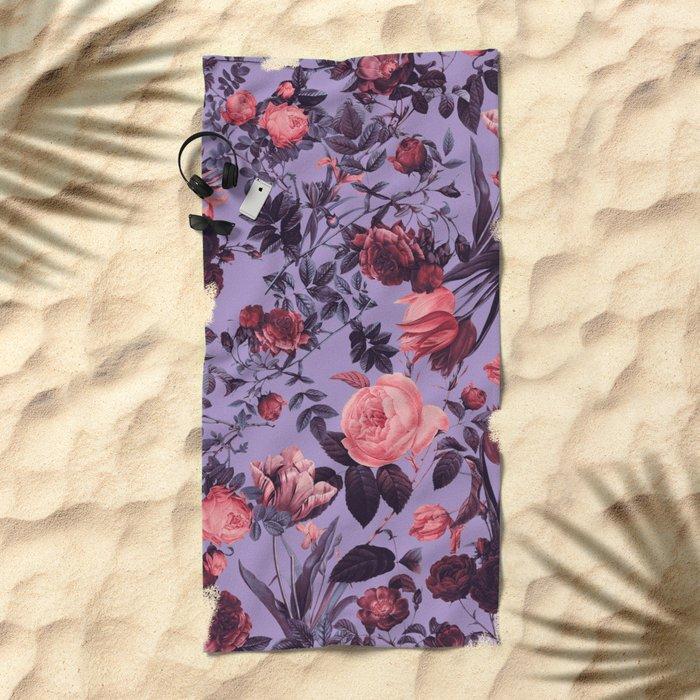 Romantic Floral Pattern Beach Towel