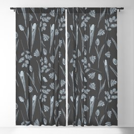 Modern botanical black gray watercolor floral Blackout Curtain