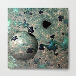 Emerald and Gold Mandelbrot With Sphere Metal Print