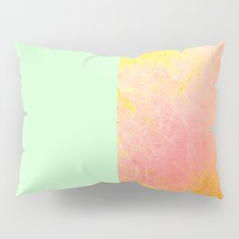 Mint Coral Gold Pillow Sham