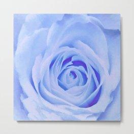 Blue Watercolor Rose Metal Print