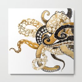Metallic Octopus Metal Print
