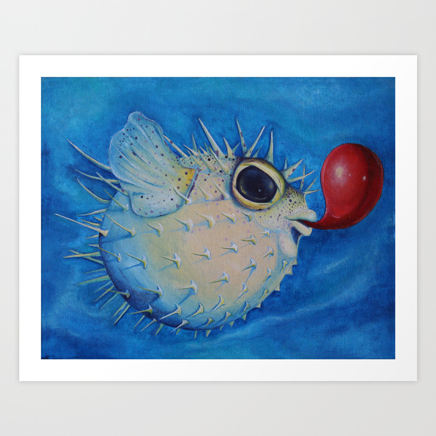 Puffer Fish With Red Balloon Art Print By Creaturesvirtue Society6