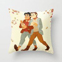 klaine Throw Pillows featuring Fall Klaine by CRAZiE-CRiSSiE