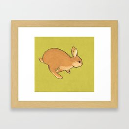 Run Little Bunny - Original pastel of a rabbit joyfully running through the grass, pop art Framed Art Print