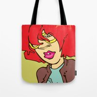 redhead Tote Bags featuring REDHEAD by Professor Lunchbox