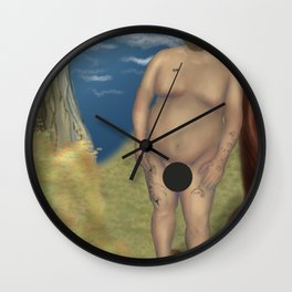 Censored Nude Bear Leaning on a Tree Wall Clock