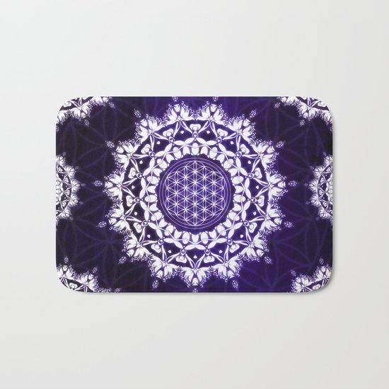 Flower Of Life Indigo Glow Mandala Bath Mat