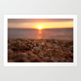 Town Beach Sunset Art Print