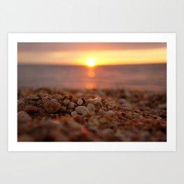 Town Beach Sunset Art Print