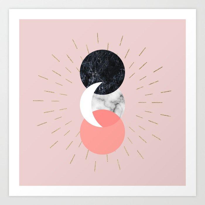 Moon and Sun on Pink and Marble Geometry #abstractart Kunstdrucke