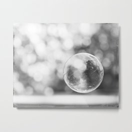 Black and White Bubble Photography, Grey Laundry Art, Gray Bathroom Decor Bubbles Laundry Room Photo Metal Print