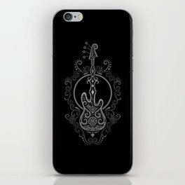 Intricate Gray and Black Bass Guitar Design iPhone Skin