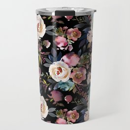Blush pink teal lilac ivory watercolor modern roses Travel Mug