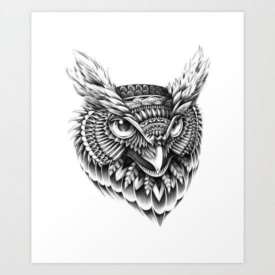 Ornate Owl Head Art Print