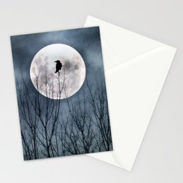 Crow In The Light Of A Glowing Moon Stationery Cards