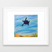 sea turtle Framed Art Prints featuring Turtle by Lissasdesigns