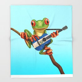Tree Frog Playing Acoustic Guitar with Flag of El Salvador Throw Blanket