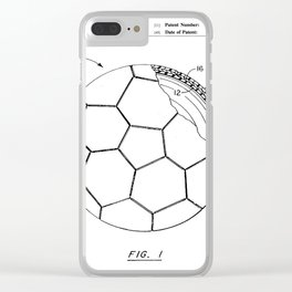Soccer Patent - Football Art - Black And White Clear iPhone Case