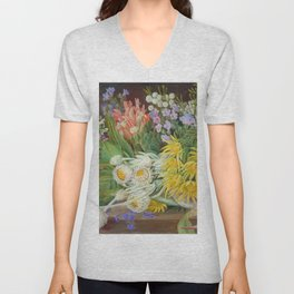Medley of Wild Summer Mountain Flowers still life painting Unisex V-Neck