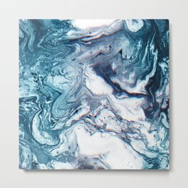 Real Marble Glitch Pattern Metal Print