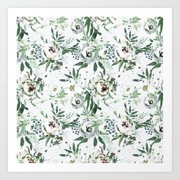 Pastel green pink ivory watercolor hand painted floral pattern Art Print