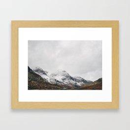 High Stile peak covered in snow. Buttermere, Cumbria, UK. Framed Art Print